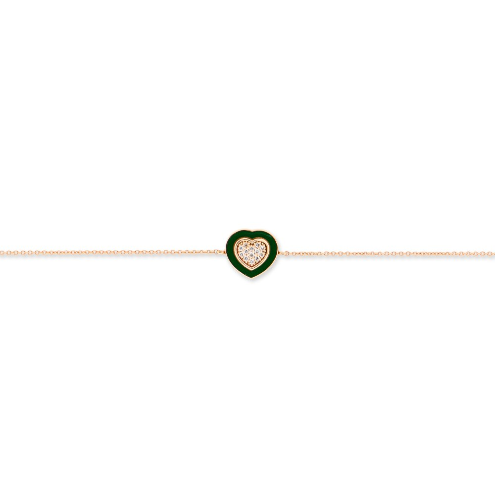 KESSARIS Green Heart Diamond Gold Bracelet BRE191380-GR