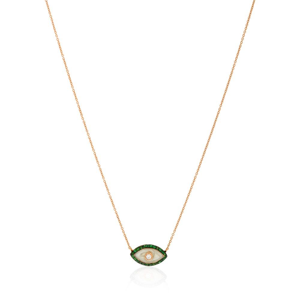 KESSARIS Green Evil Eye Diamond Pendant Necklace KOE191280