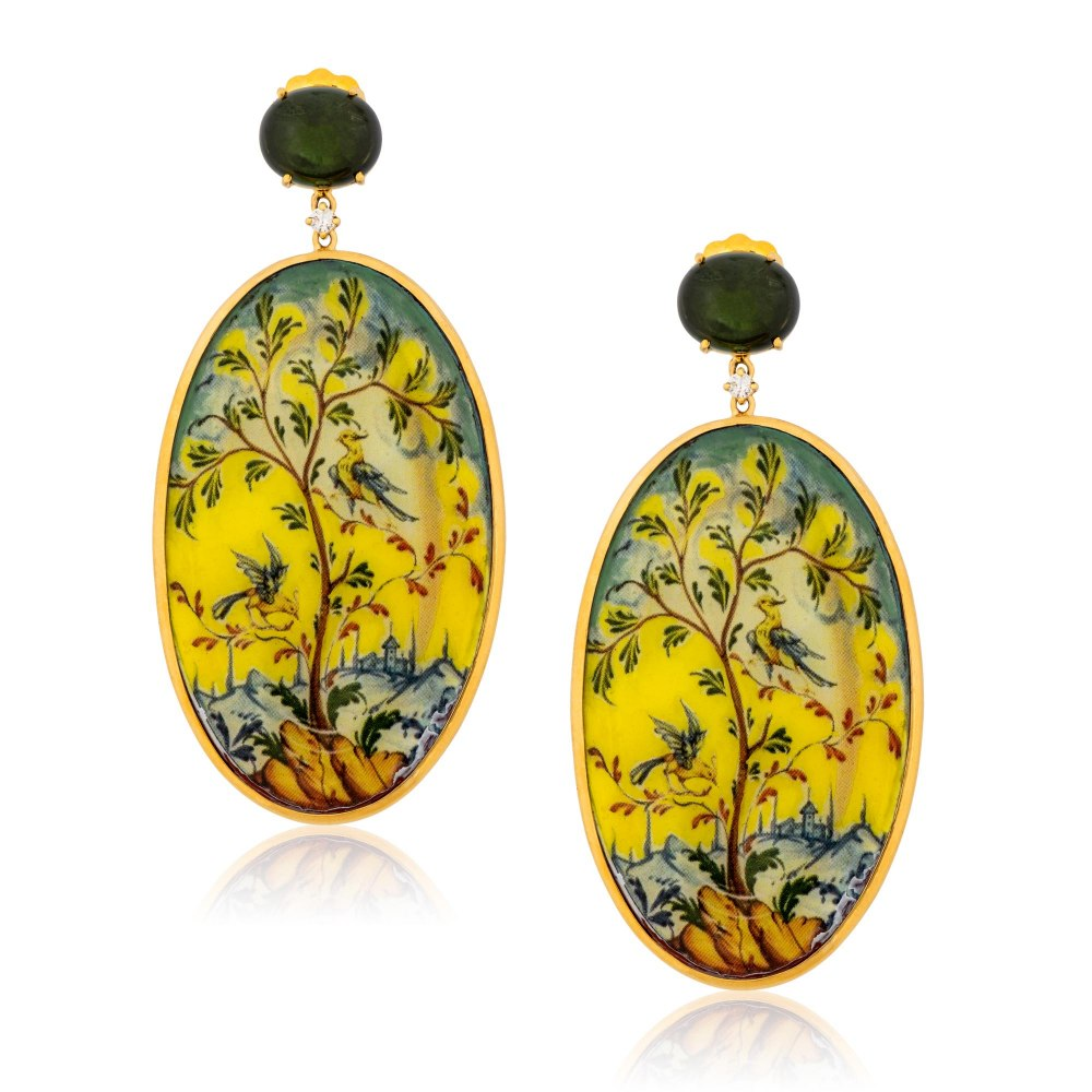 KESSARIS Hand-painted Tree Gold Earrings SKE182891