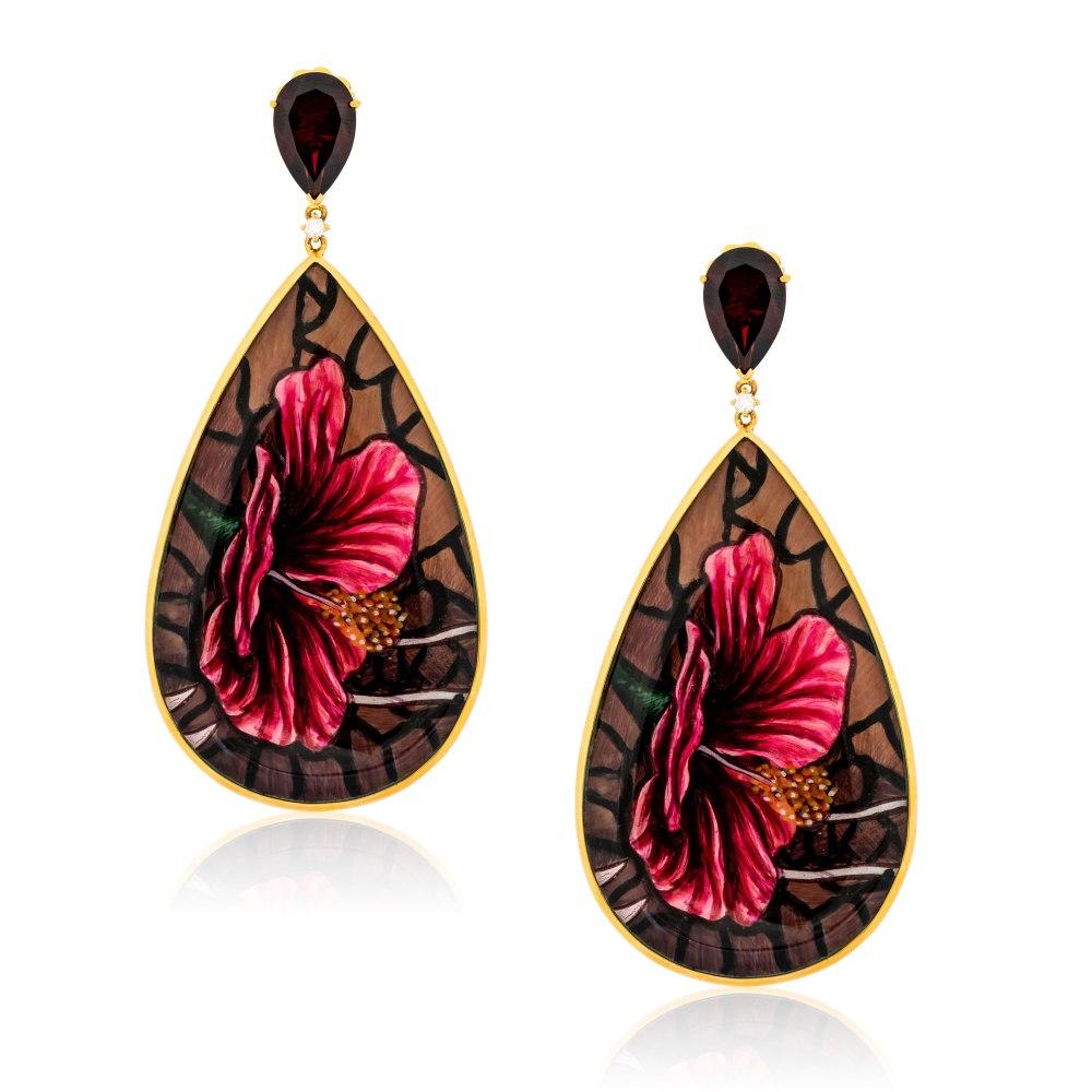 KESSARIS Hand-painted Flower Gold Earrings SKE182892