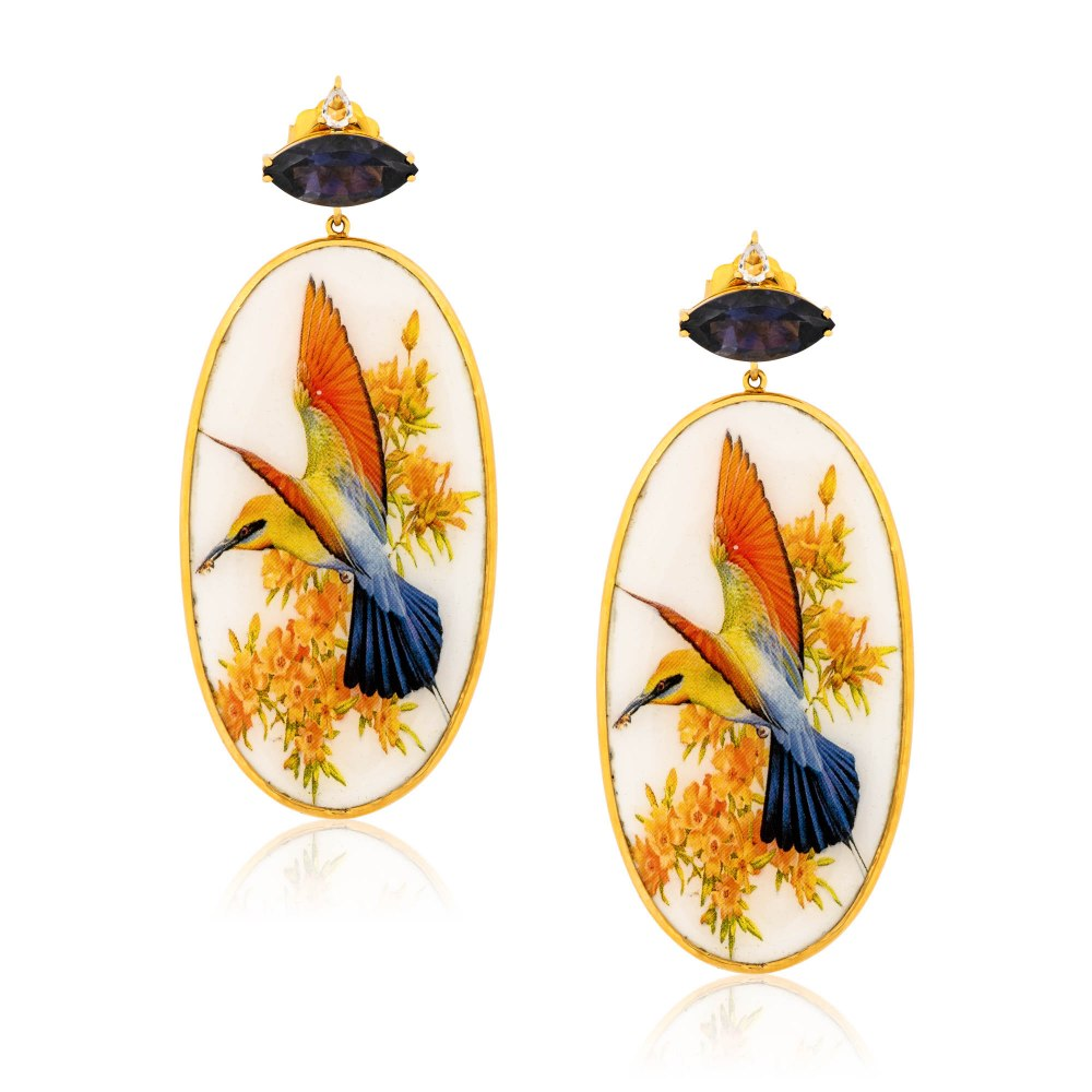 KESSARIS Hand-painted Bird Gold Earrings SKE182893