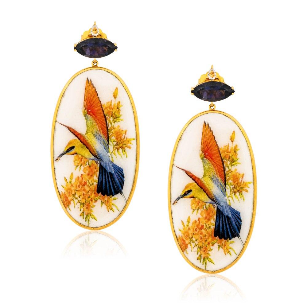 KESSARIS Hand-painted Bird Gold Earrings SKE182893