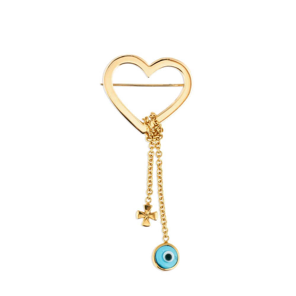 KESSARIS Heart Cross and Evil Eye Baby Pin KFE55574