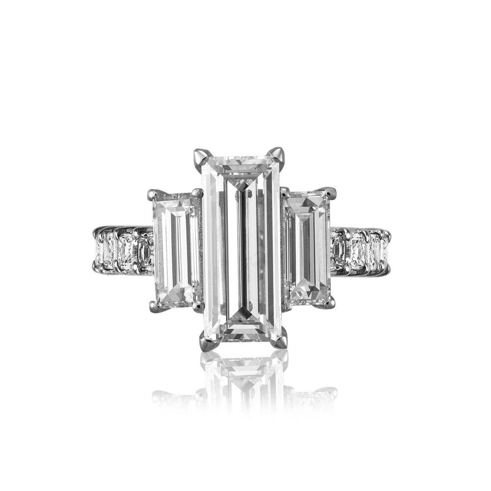 KESSARIS Baguette Asscher Rectangle Diamond Ring MM3882