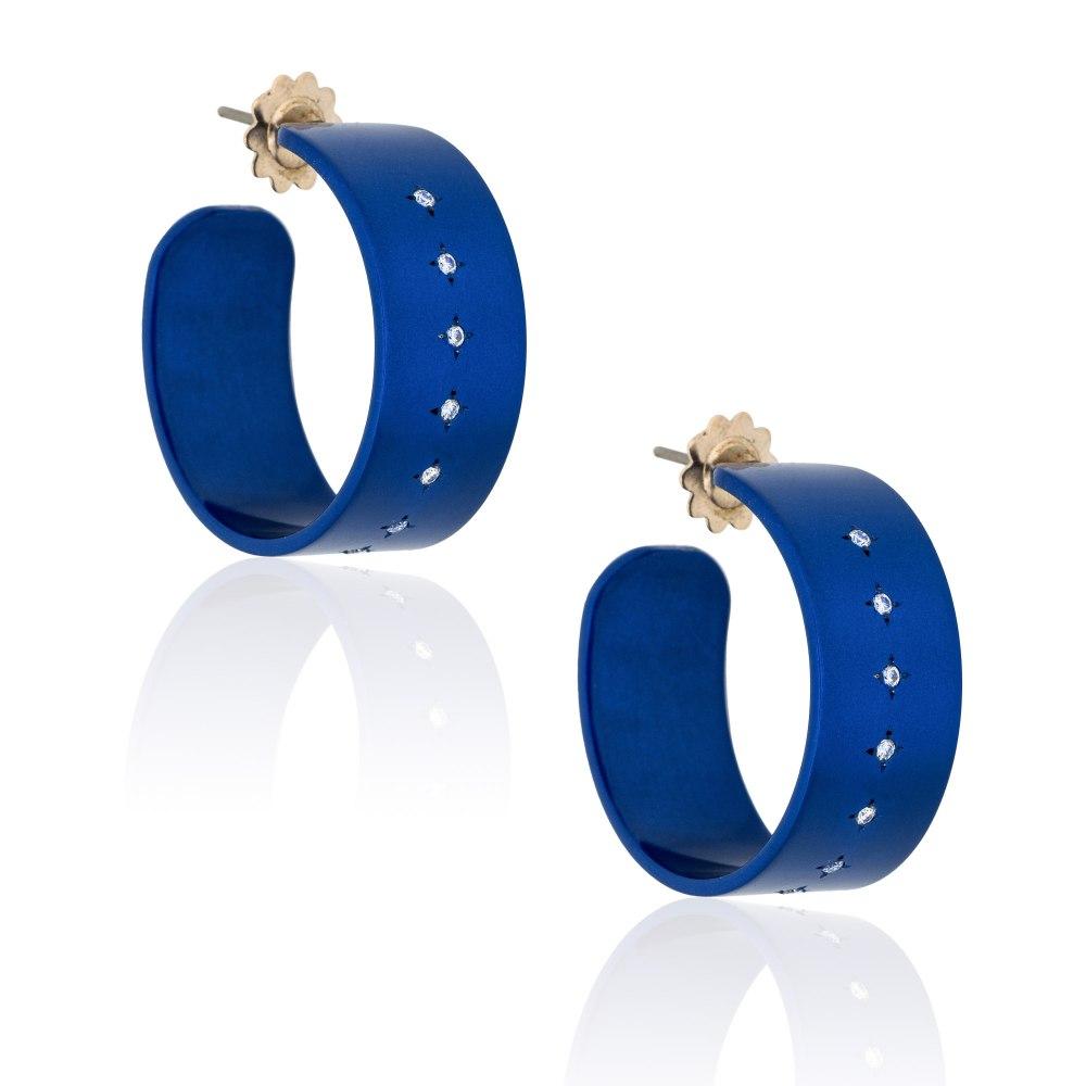 ANASTASIA KESSARIS Hocus Pocus Blue Titanium Diamond Earrings Large SKP192080