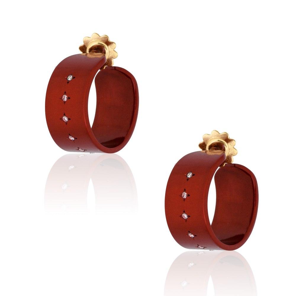 ANASTASIA KESSARIS Hocus Pocus Red Titanium Diamond Earrings SKP192079