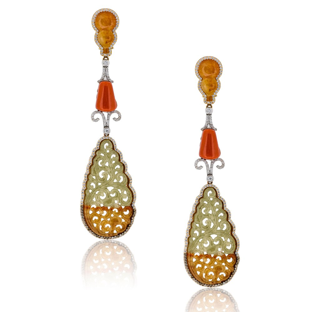 KESSARIS Jade & Diamond Chandelier Earrings SKE191337