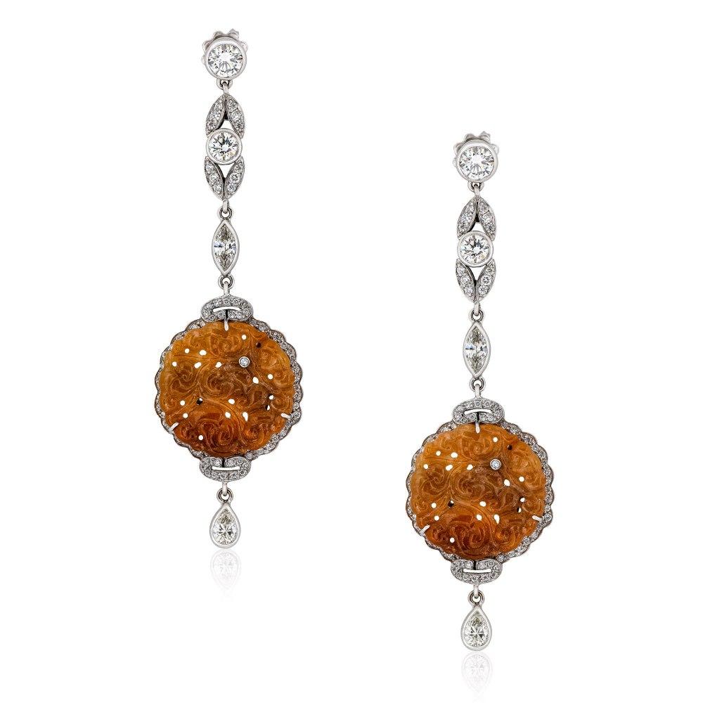 KESSARIS Jade & Diamond Earrings SKE191338