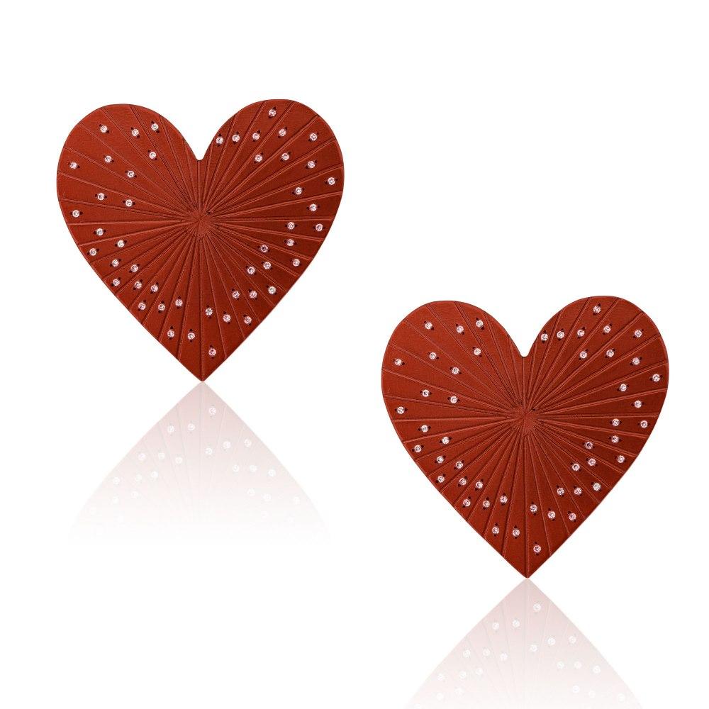ANASTASIA KESSARIS Love Red Titanium Diamond Earrings A.ER.AP0016