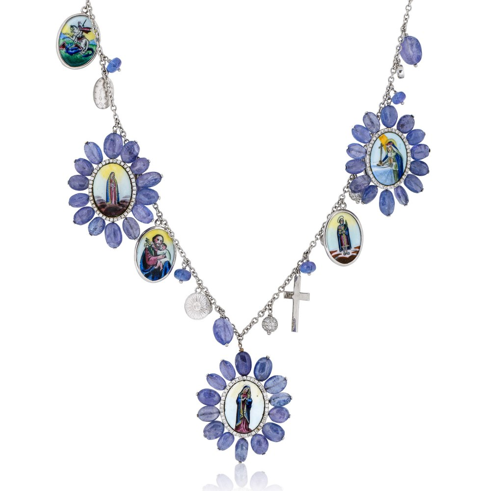 KESSARIS Madonna Tanzanite & Diamond Necklace KOE131130