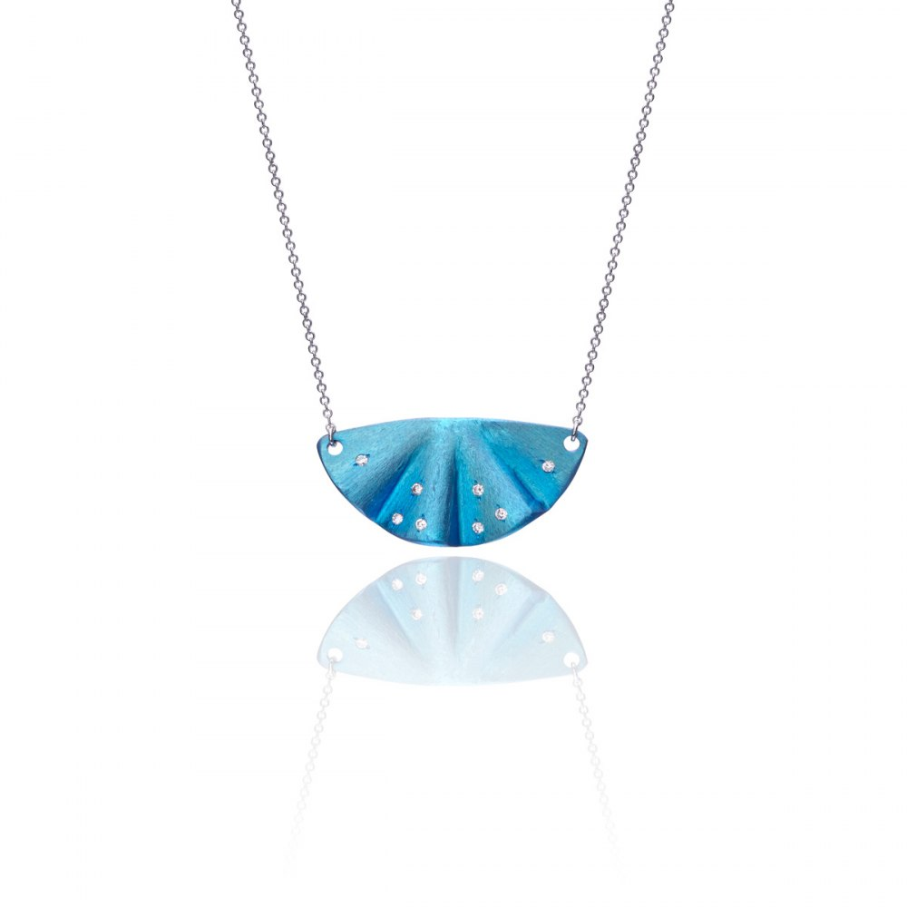 ANASTASIA KESSARIS Maiko Light Blue Titanium and Diamond Necklace A.NK.MT0109-LB