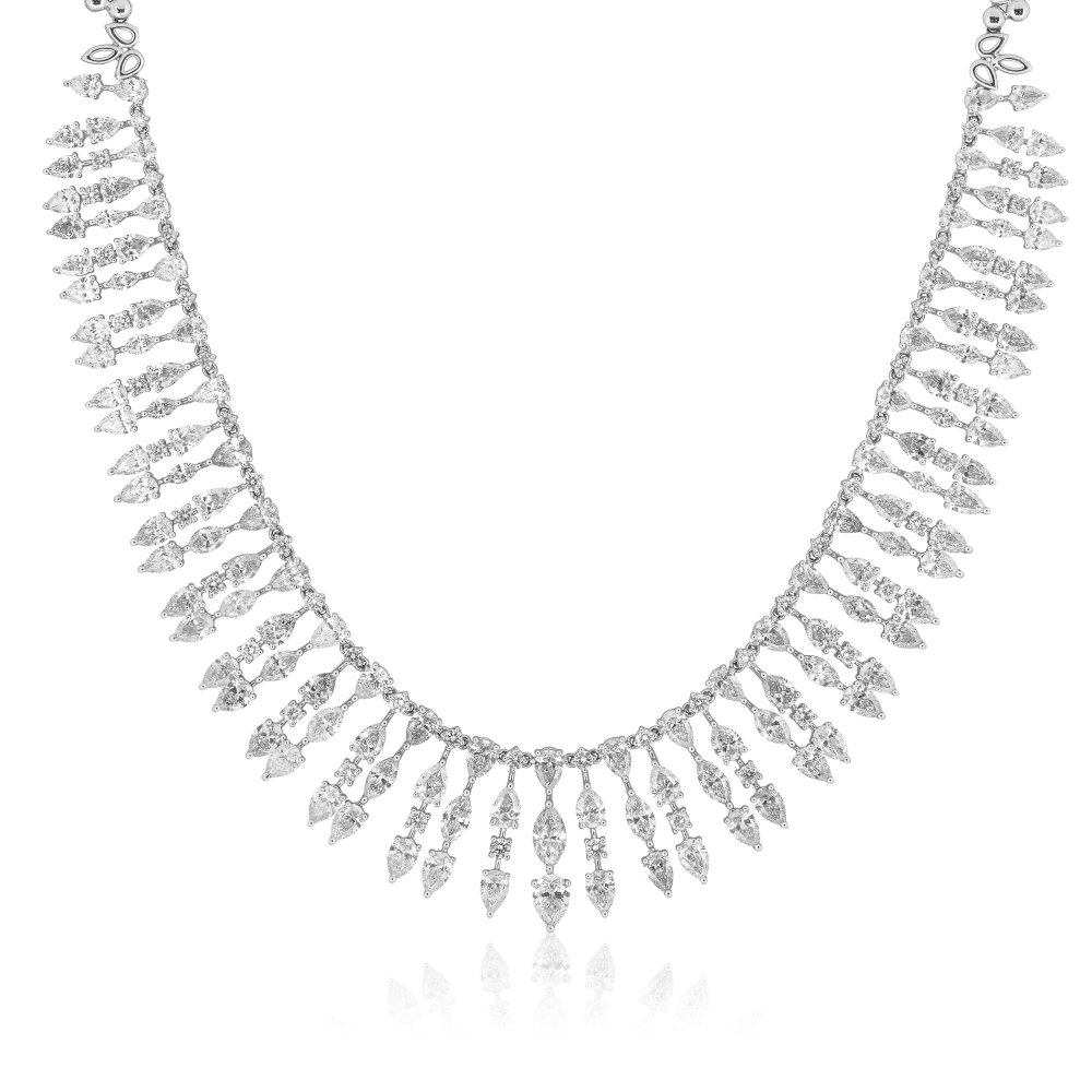 KESSARIS Marquise and Brilliant Cut Diamond Necklace KOE182488