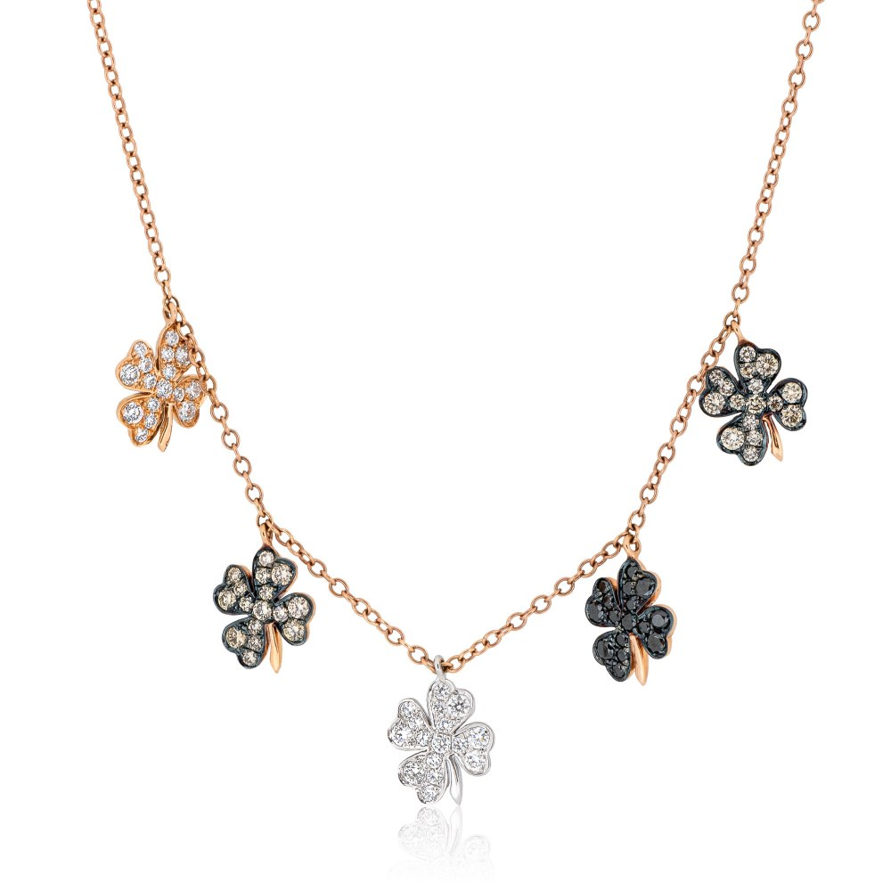 KESSARIS Multi Four-leaf Clover Charm Diamond Necklace KOE192548