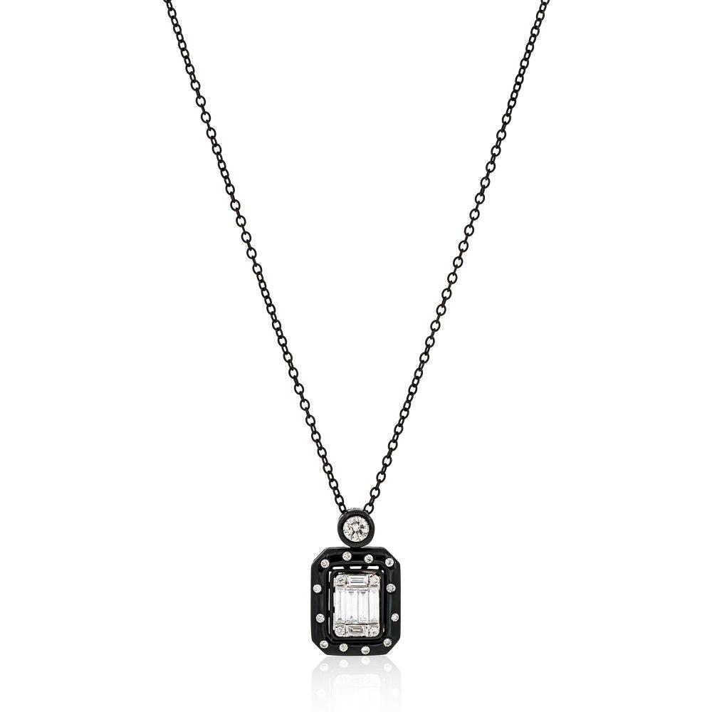 KESSARIS Black Rhodium Gold Diamond Pendant Necklace KOE182445