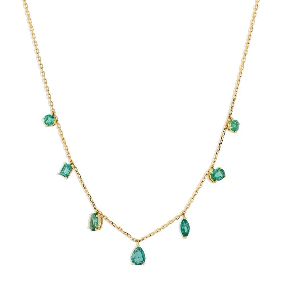 KESSARIS Emerald Yellow Gold Necklace KOE181701