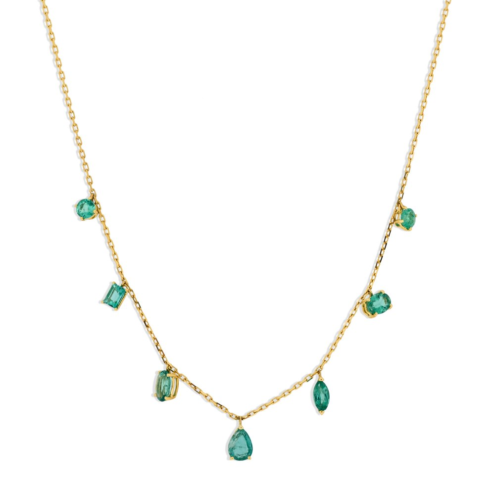 KESSARIS Emerald Yellow Gold Necklace KOE181701
