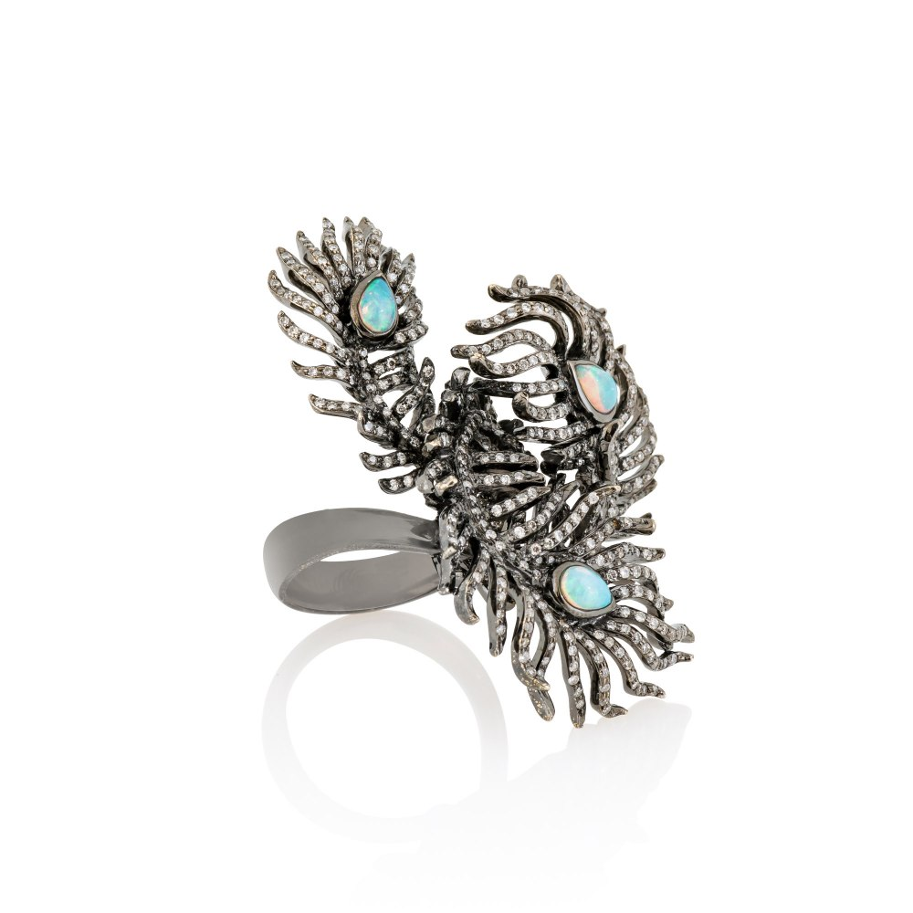 KESSARIS Opal & Diamond Statement Ring DAE104259