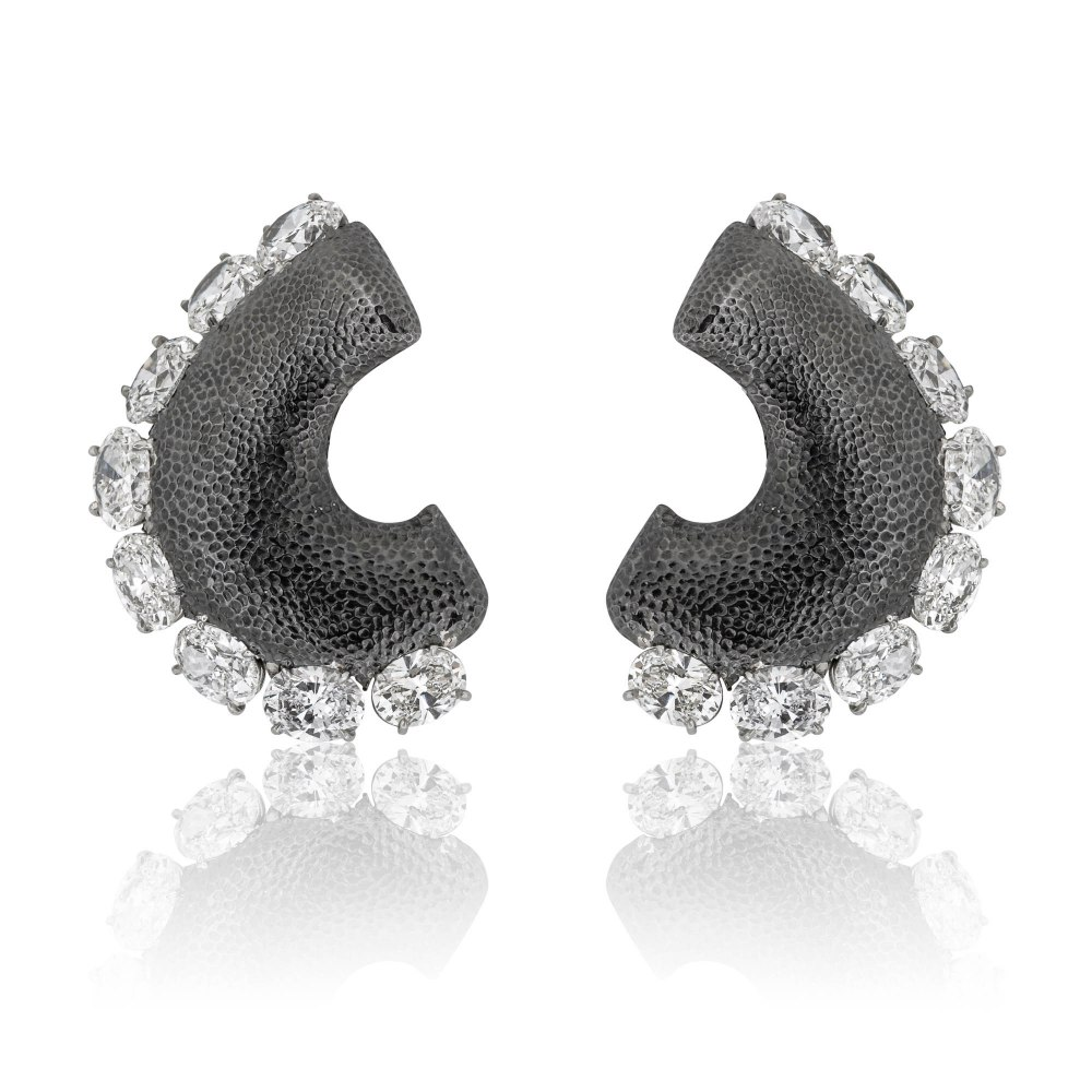 KESSARIS Oval Diamond Statement Earrings M4324