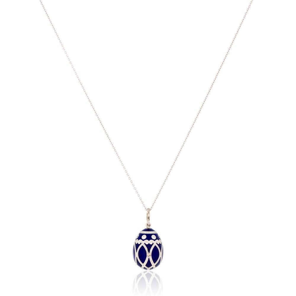 FABERGE Palais Yelagin Royal Blue Egg Pendant Necklace KOE130988