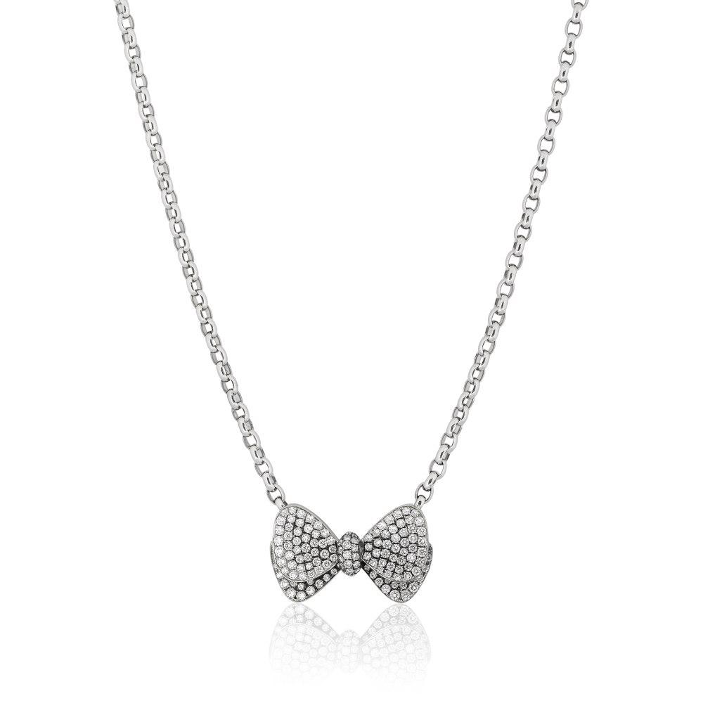 KESSARIS Pavé Diamond Bow Necklace KOE104469