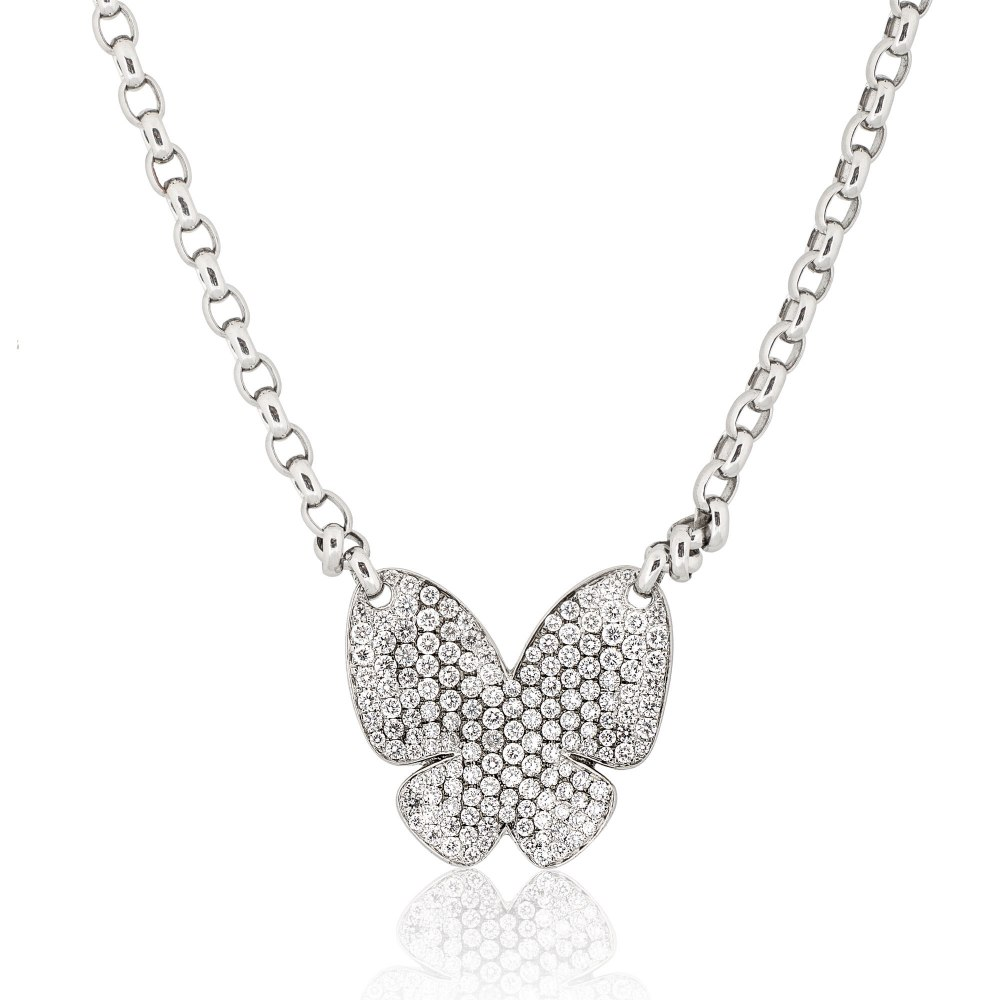 KESSARIS Pavé Diamond Butterfly Necklace KOE104468
