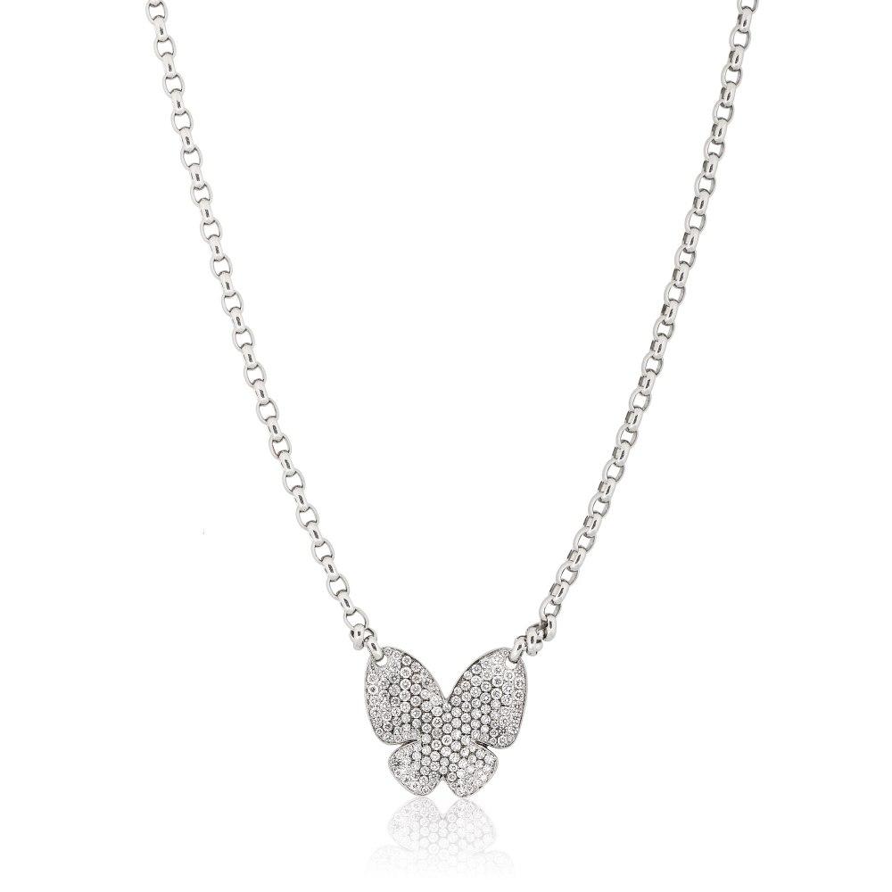 KESSARIS Pavé Diamond Butterfly Necklace KOE104468