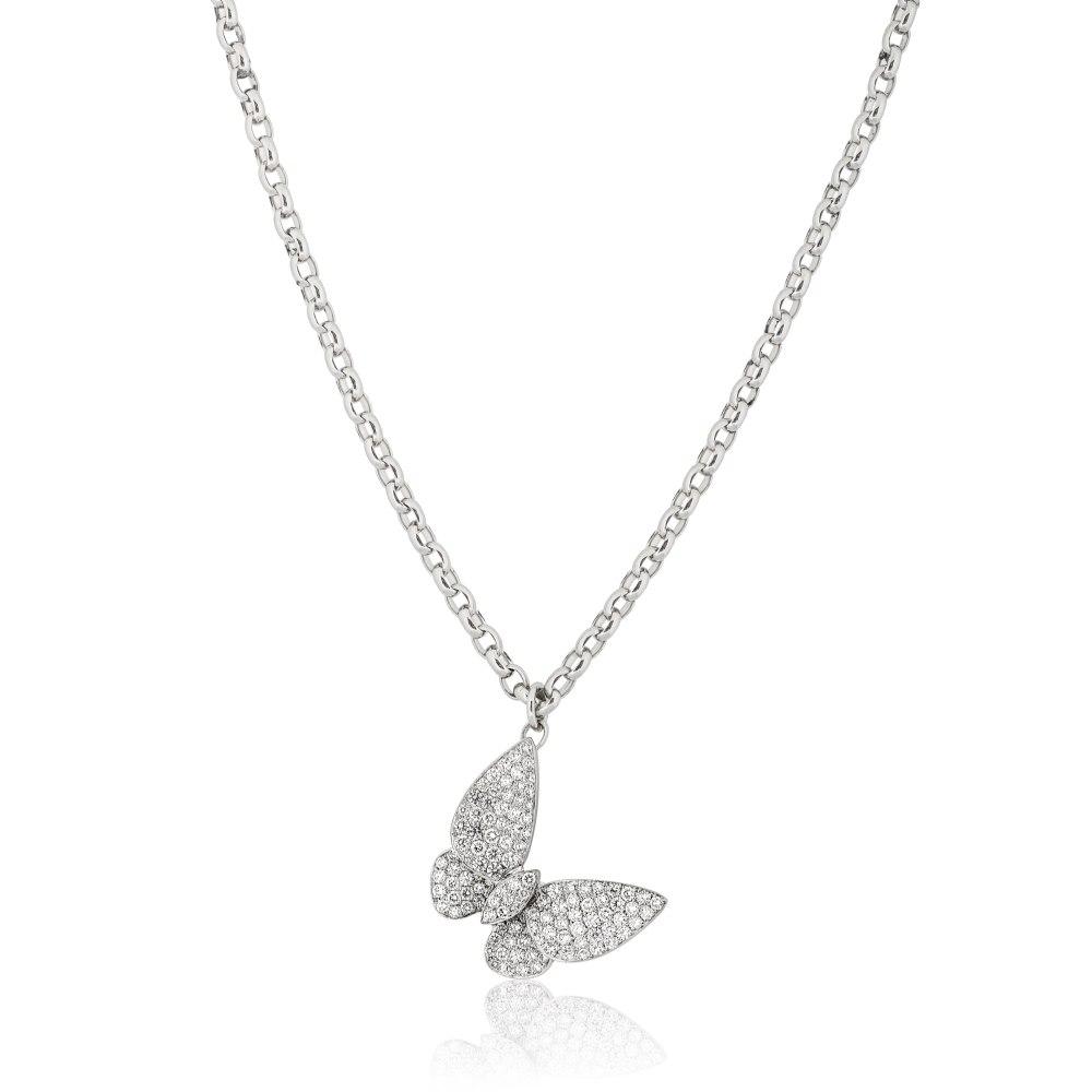 KESSARIS Pavé Diamond Butterfly Necklace KOE104470