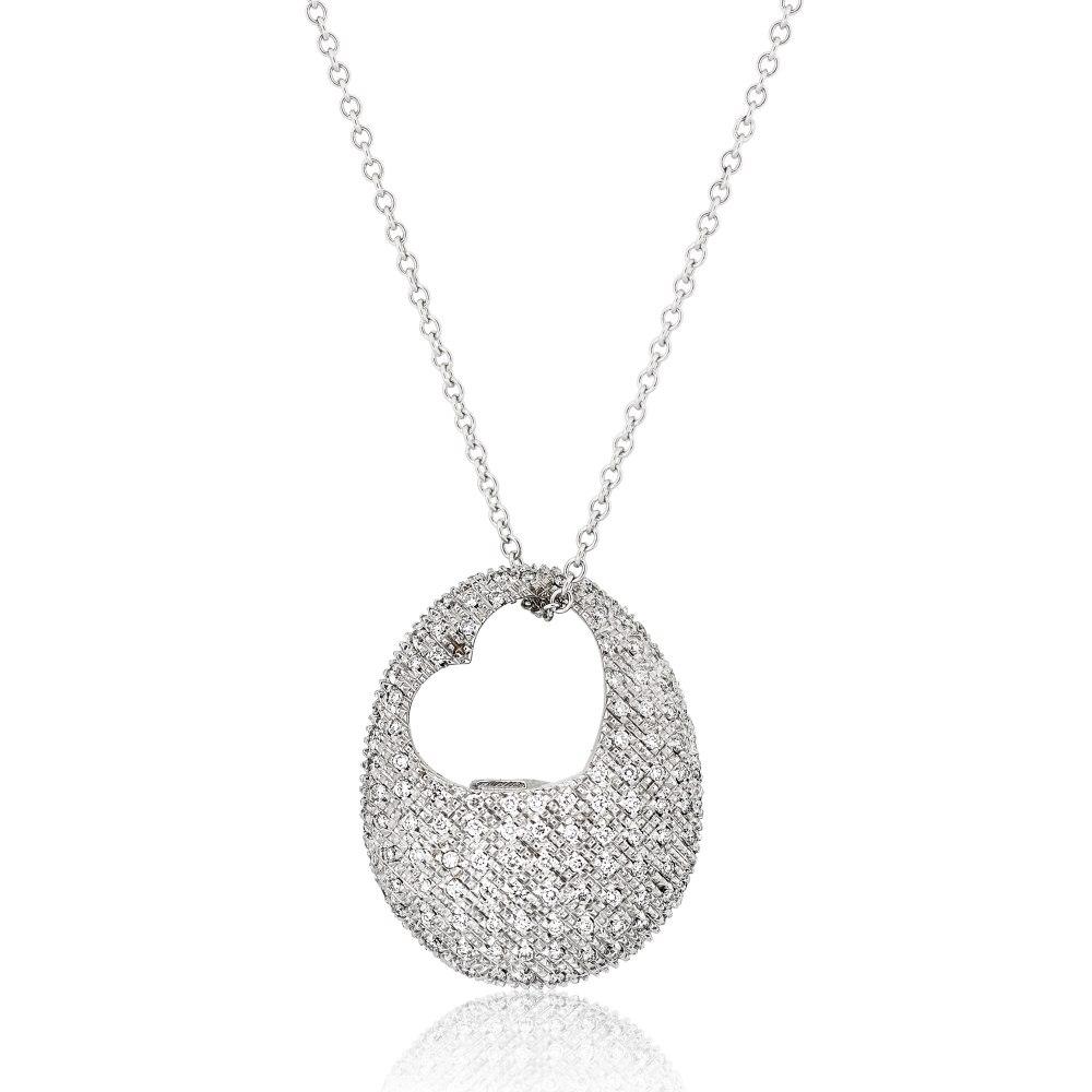 KESSARIS Pavé Diamond Heart Necklace KO46909