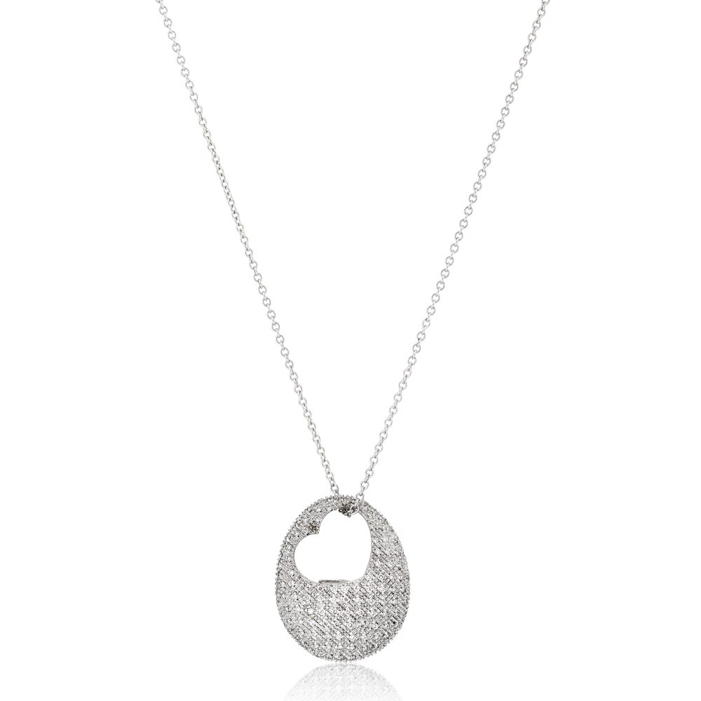 KESSARIS Pavé Diamond Heart Necklace KO46909