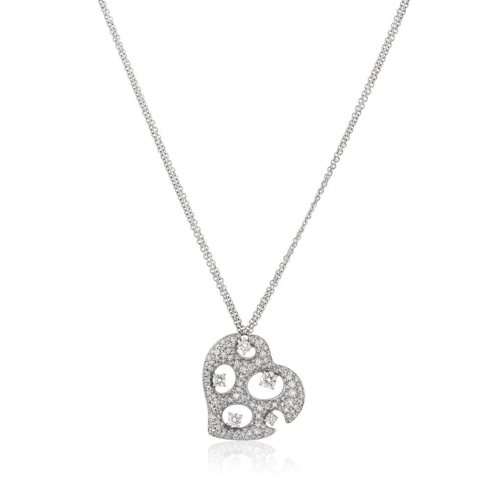 KESSARIS Pavé Diamond Heart Necklace KOE72522