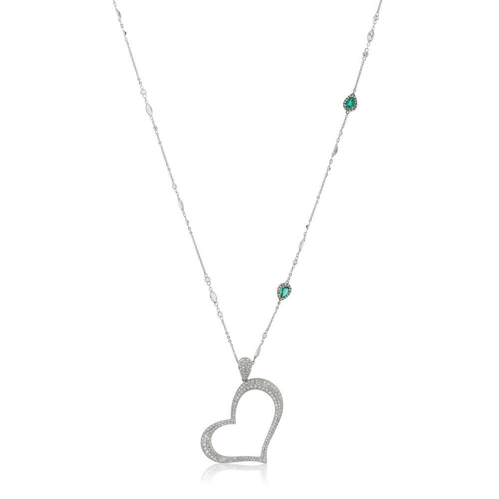 KESSARIS Pavé Diamond Heart Pendant KRE71619