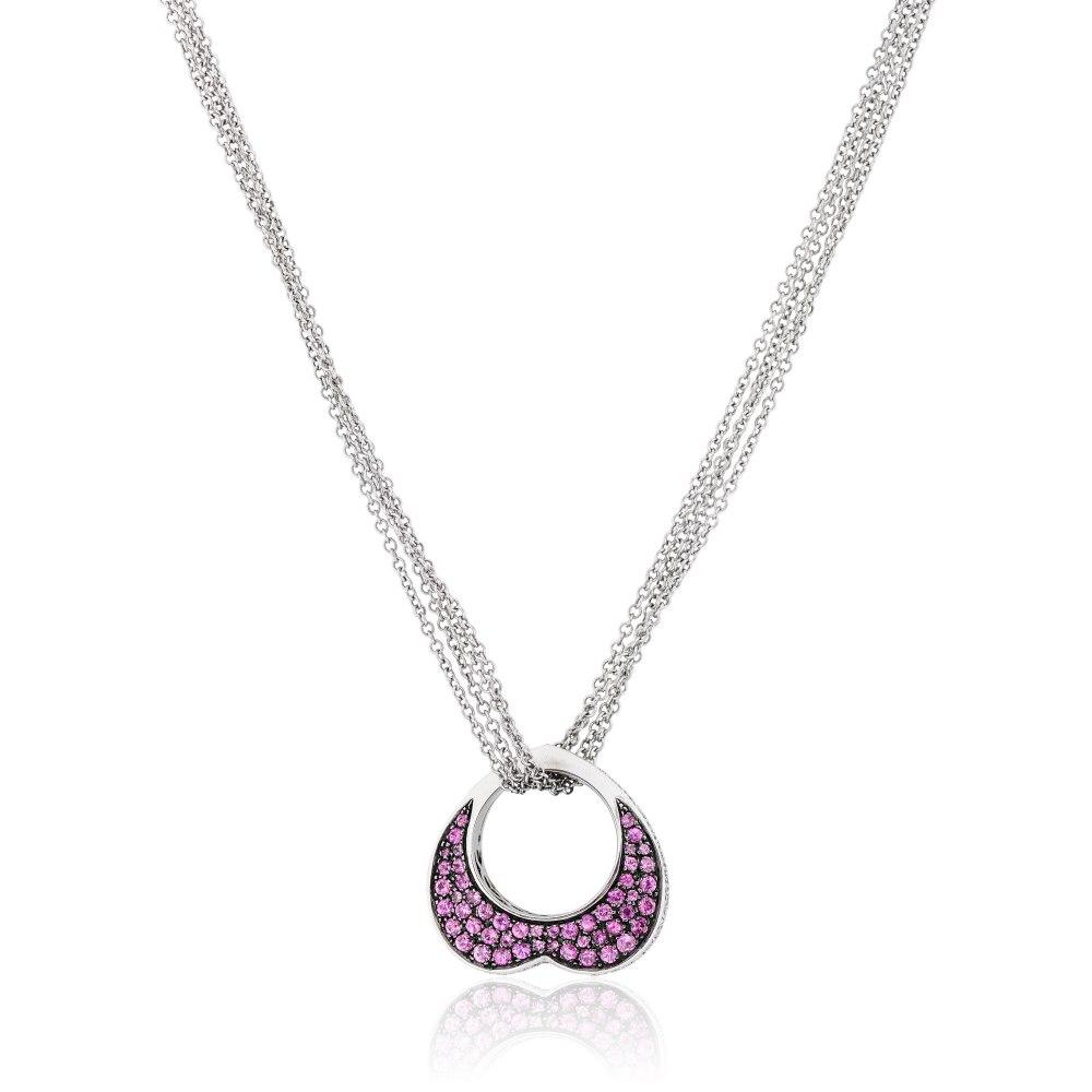 KESSARIS Pink Diamond Heart Pendant Necklace KO57140