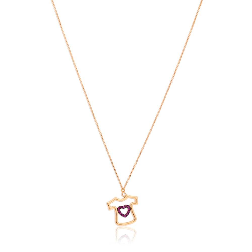 KESSARIS Pink Heart T-Shirt Necklace KOE182776