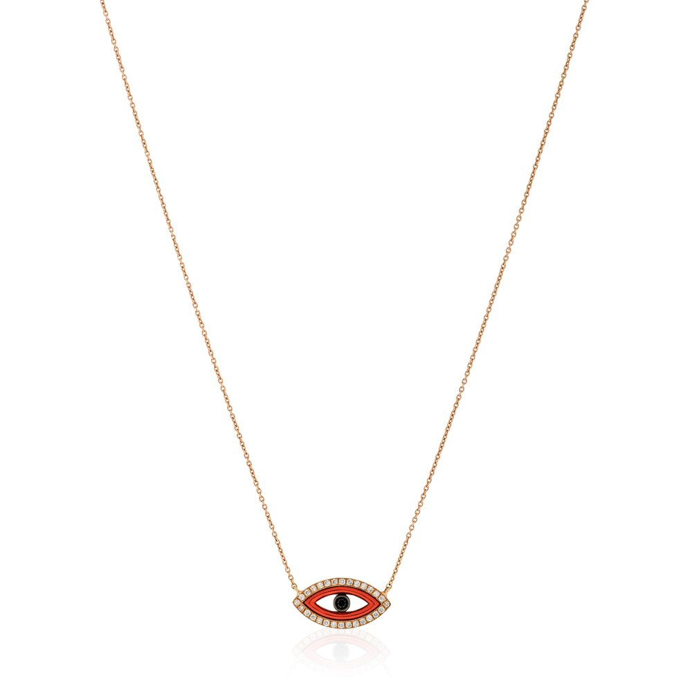 KESSARIS Red Evil Eye Diamond Pendant Necklace KOE181315