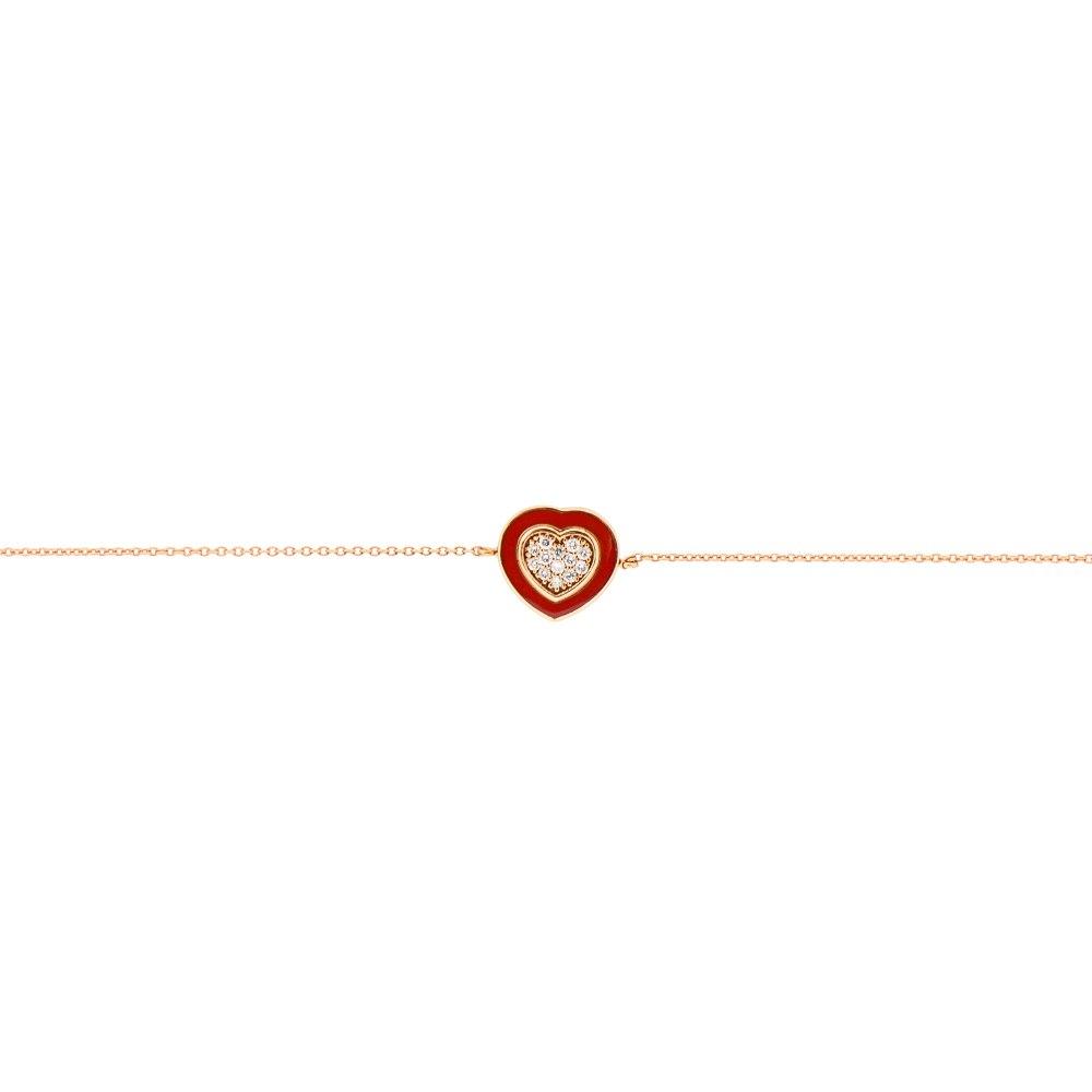 KESSARIS Red Heart Diamond Gold Bracelet BRE191380-RD