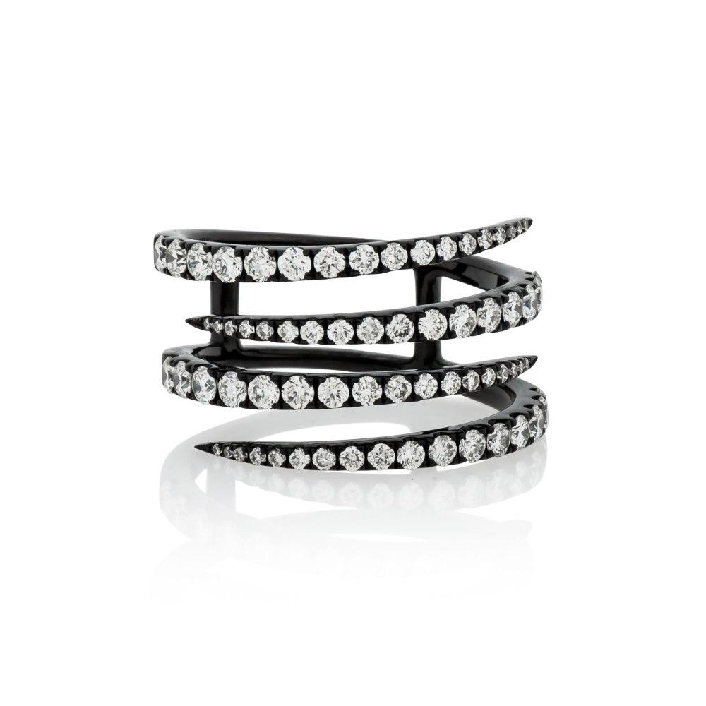 KESSARIS Black Colored Gold Diamond Ring DAE181730