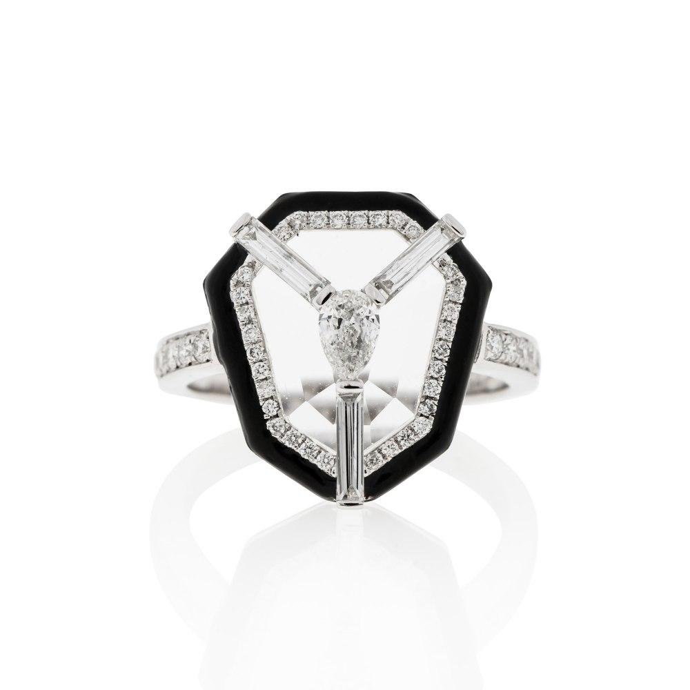 KESSARIS White Gold Diamond Enamel Ring DAE182455