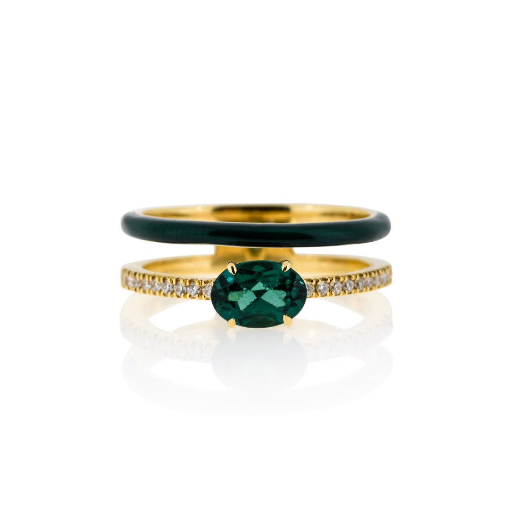 ANASTASIA KESSARIS Double Band Gold Enamel Ring DAE182793