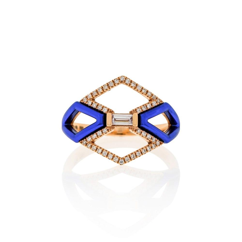 KESSARIS Geometric Blue Diamond Ring DAE180984