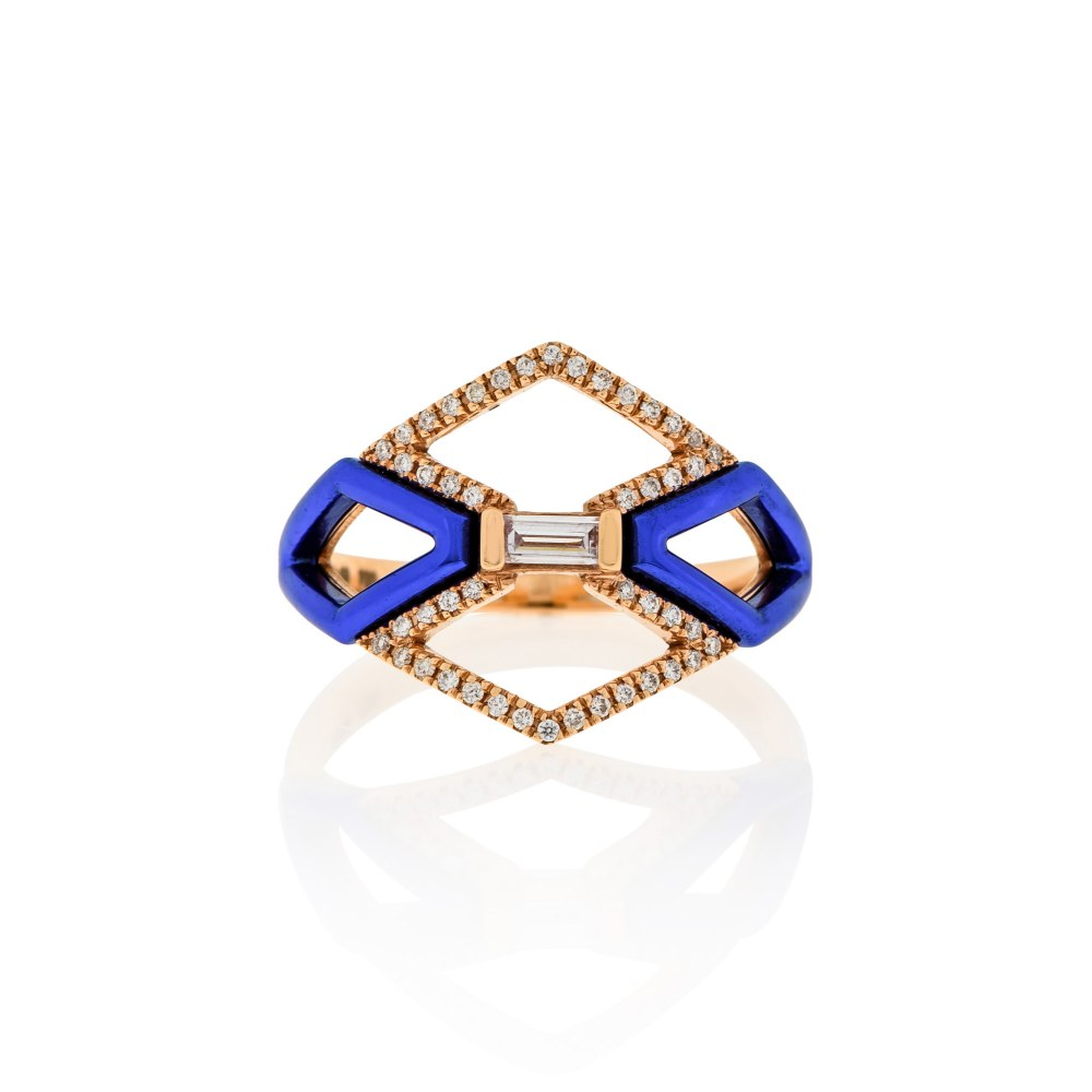 KESSARIS Geometric Blue Diamond Ring DAE180984