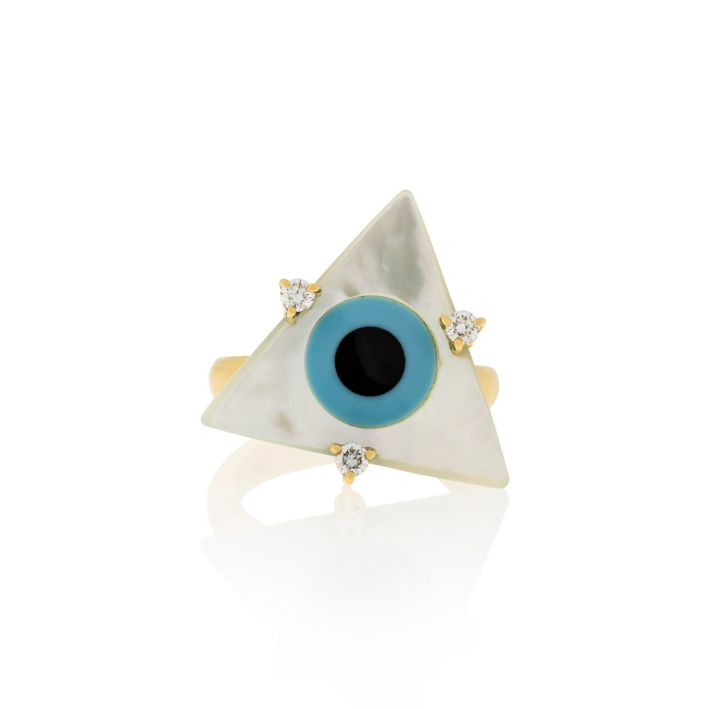 ANASTASIA KESSARIS Evil Eye Triangle Mother of Pearl Ring DAP180347