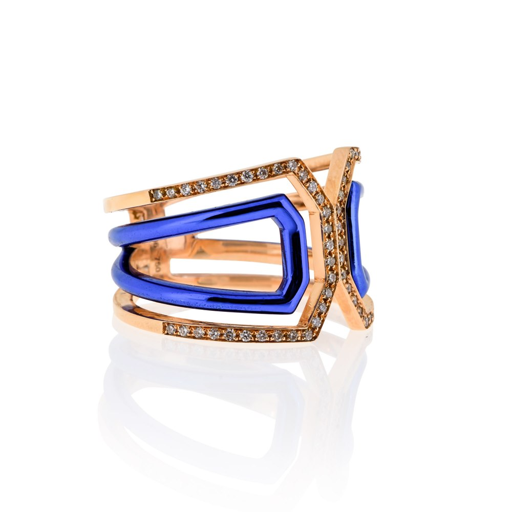 KESSARIS Rose Gold Blue Diamond Ring DAE181022