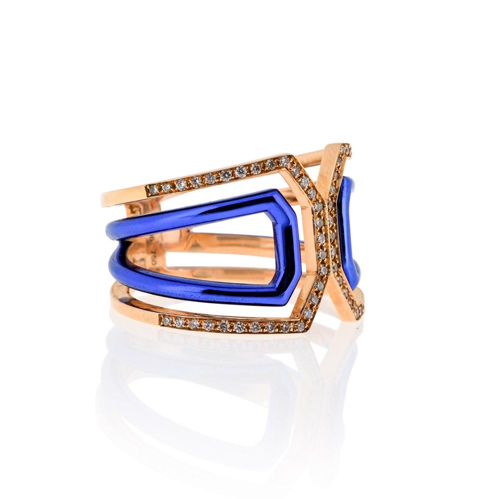 KESSARIS Rose Gold Blue Diamond Ring DAE181022