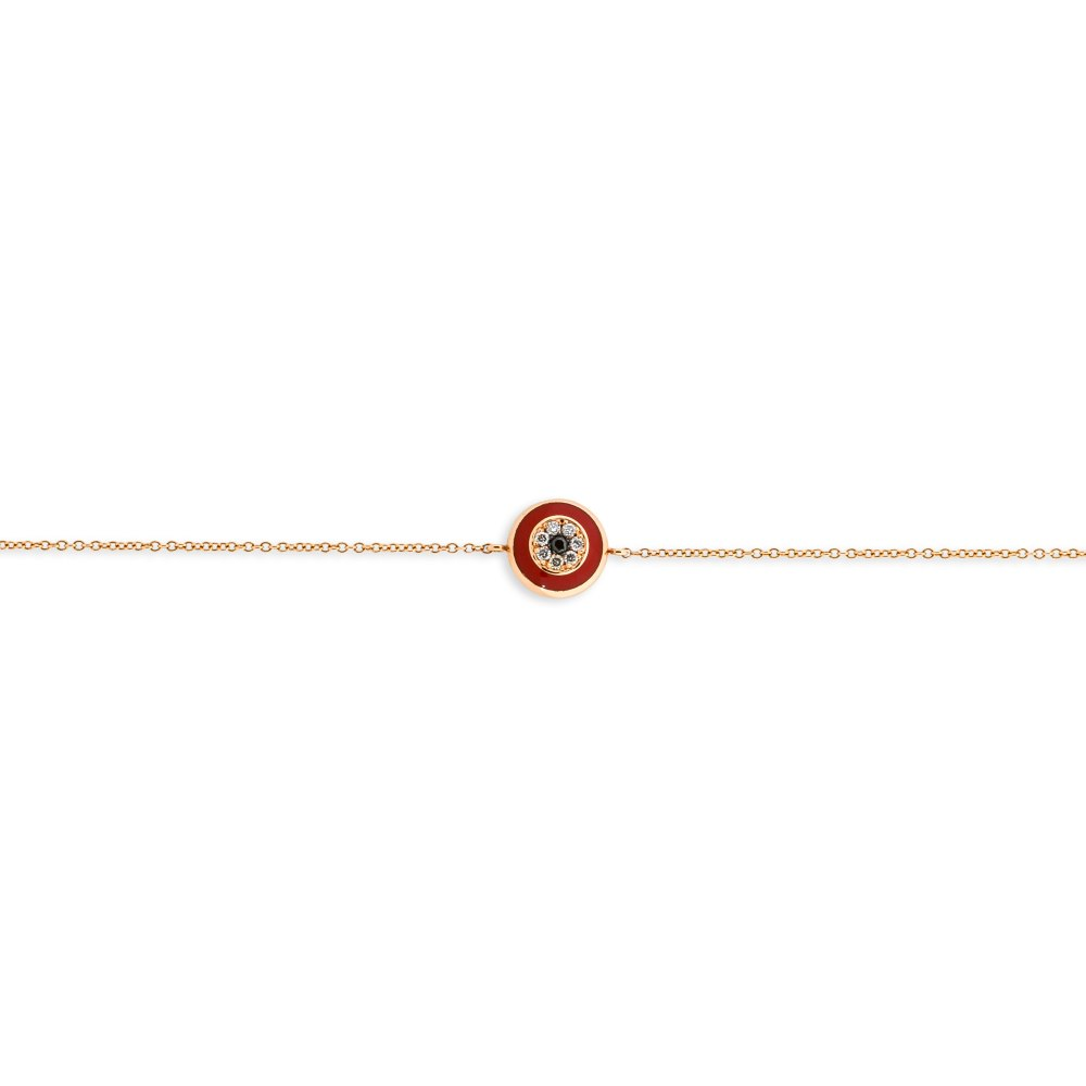 KESSARIS Round Red Evil Eye Diamond Bracelet BRE191379-RD