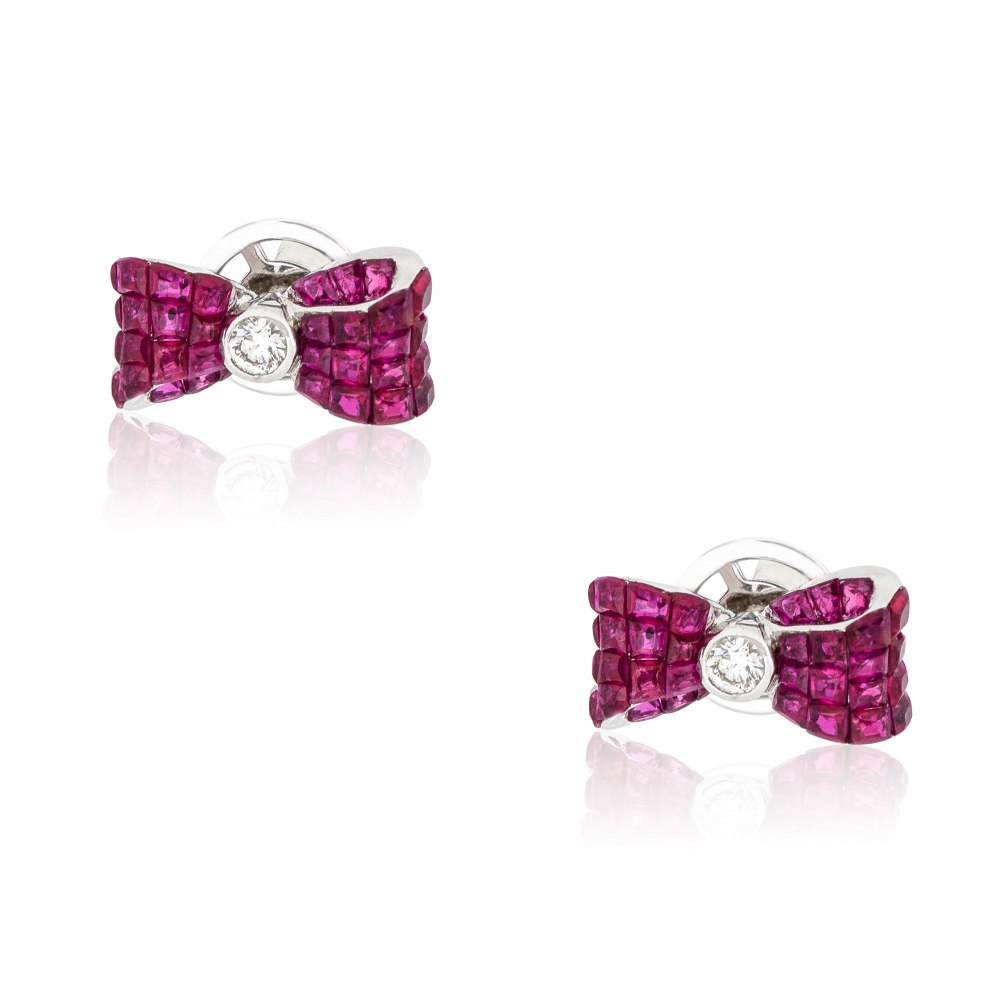 KESSARIS Ruby Bow Earrings SKE192907
