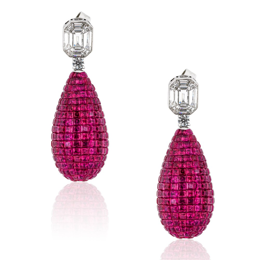 KESSARIS Ruby & Diamond Earrings SKE192904-SKE192910