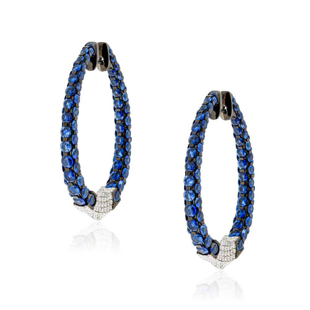 KESSARIS Sapphire & Diamond Celestial Hoop Earrings SKE191449