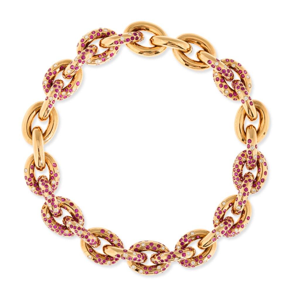KESSARIS Sapphire & Diamond Chain Necklace KOP11821