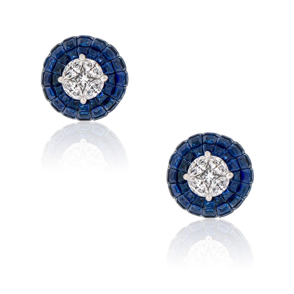 KESSARIS Sapphire & Diamond Earrings SKE192899