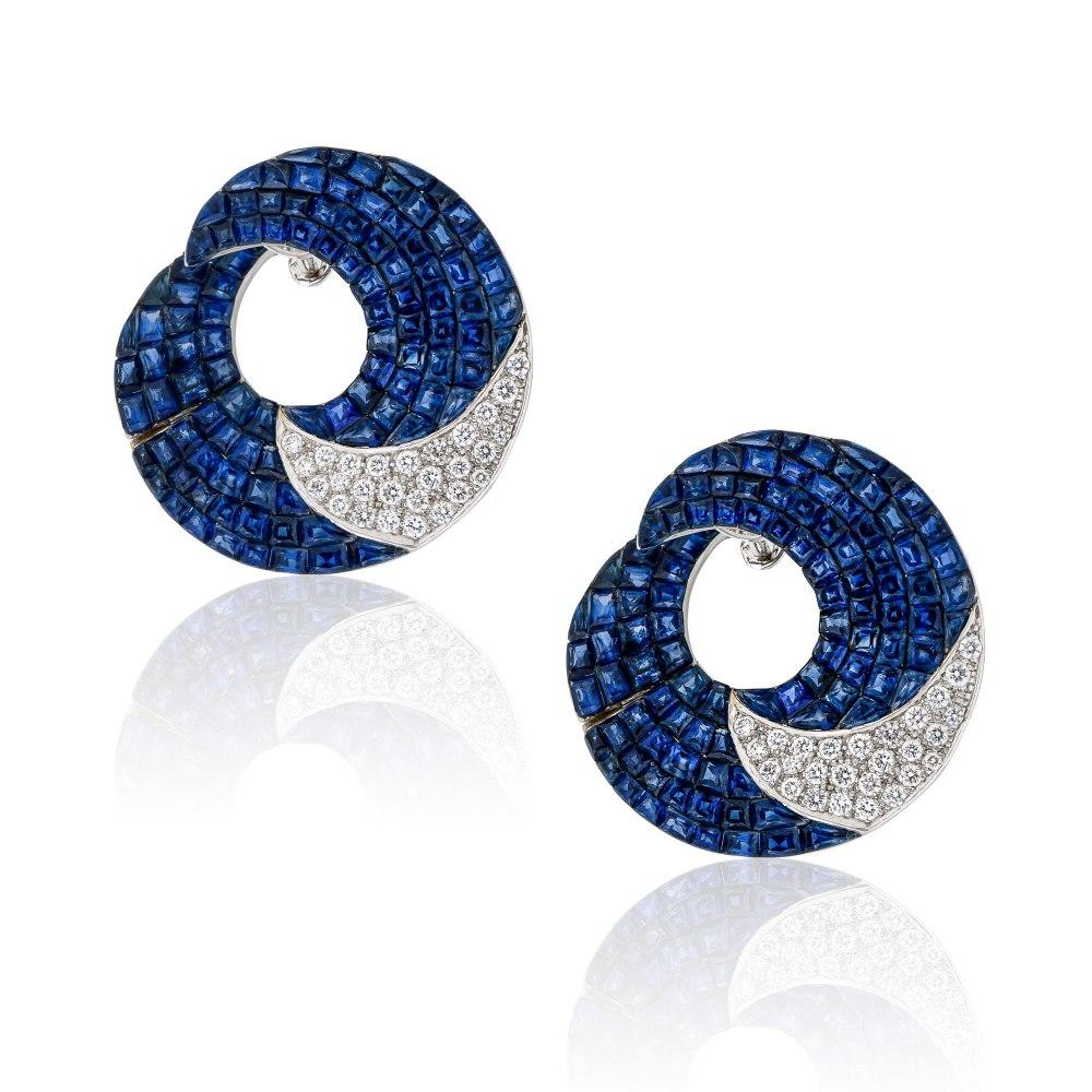KESSARIS Sapphire & Diamond Earrings SKE192909